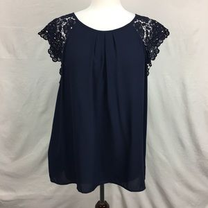 LOFT Navy Lace Embroidered Sleeve Top